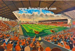 Hand Painted original of tannadice on matchday